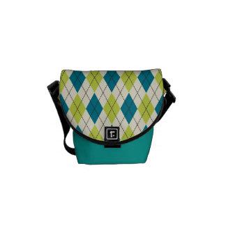 Blue And Green Argyle Commuter Bag