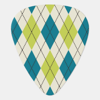 Blue And Green Argyle Guitar Pick