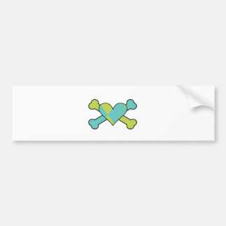 blue and green argyle heart colored crossbones des bumper sticker
