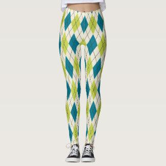 Blue And Green Argyle Leggings