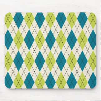Blue And Green Argyle Mouse Mat