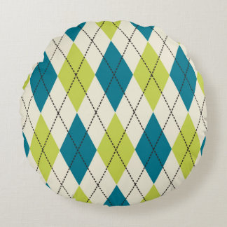 Blue And Green Argyle Round Cushion