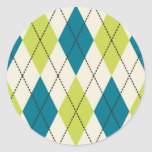 Blue And Green Argyle Round Stickers