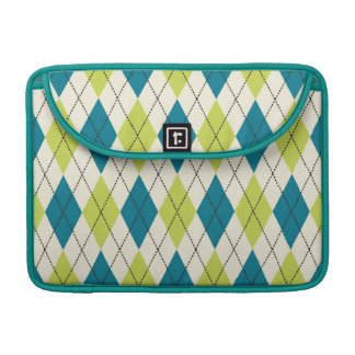 Blue And Green Argyle Sleeve For MacBooks