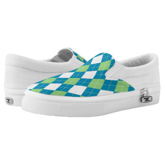 Blue and Green Argyle Sneakers