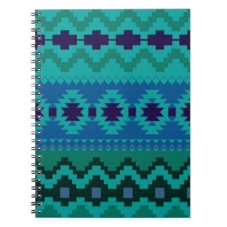 Blue and Green Aztec Spiral Photo Notebook