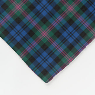 Blue and Green Baird Clan Tartan Fleece Blanket