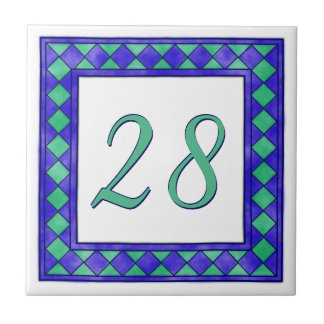 Blue and Green Big House Number Small Square Tile