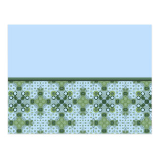 blue and green border postcard
