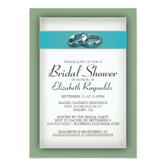 "Blue and Green Bridal Shower Invitations 5"" X 7"" Invitation Card"