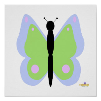 Blue And Green Butterfly Poster