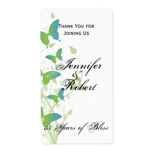 Blue and Green Butterfly Vine Wine Label