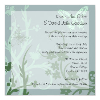 Blue and Green Butterfly Wedding Invitation