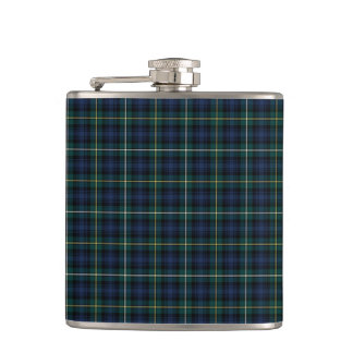 Blue and Green Campbell of Argyll Scottish Plaid Flasks