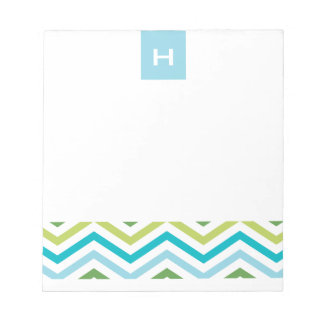 Blue and Green Chevron  |  Monogram Notepads