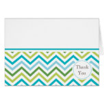 Blue and Green Chevron Thank You Card