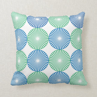 Blue and green circles pattern cushion