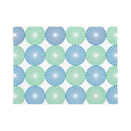 Blue and green circles pattern doormat