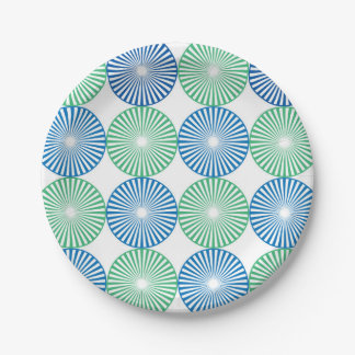 Blue and green circles ;pattern paper plate