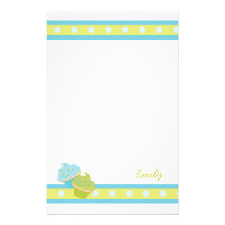 Blue and Green Cupcakes Customized Stationery