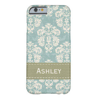 Blue and Green Damask Barely There iPhone 6 Case