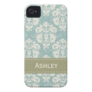 Blue and Green Damask iPhone 4 4s Case Cover