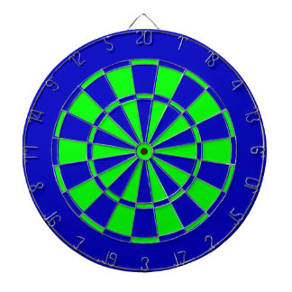 Blue and green dartboard