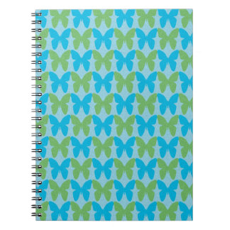 Blue and green decorative butterfly pattern note books