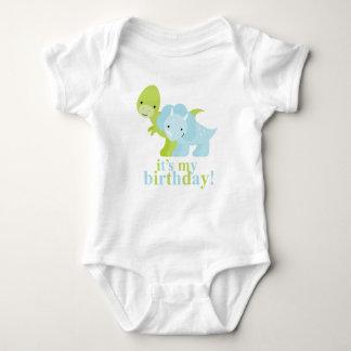 Blue and Green Dinosaurs Birthday Baby Bodysuit