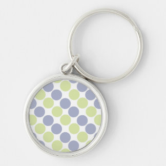 Blue And Green Dots Silver-Colored Round Key Ring