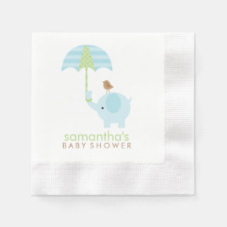 Blue and Green Elephant Baby Shower Disposable Serviette