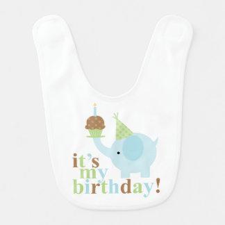 Blue and Green Elephant Birthday Bib