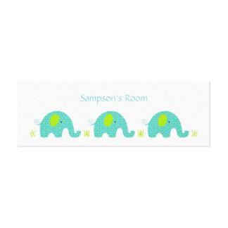 Blue and Green Elephants Boy Nursery Bedroom art Gallery Wrap Canvas