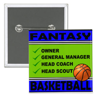 BLUE AND GREEN FANTASY BASKETBALL 15 CM SQUARE BADGE