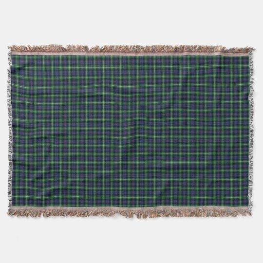 Blue and Green Farquharson Clan Scottish Plaid Throw