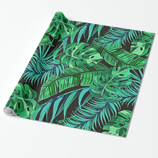 Blue and Green Ferns and Tropical Leaves Wrapping
