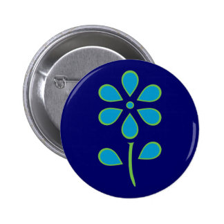 Blue and Green Flower 6 Cm Round Badge