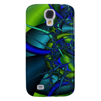 Blue and Green fractal art case for HTC Vivid Galaxy S4 Case