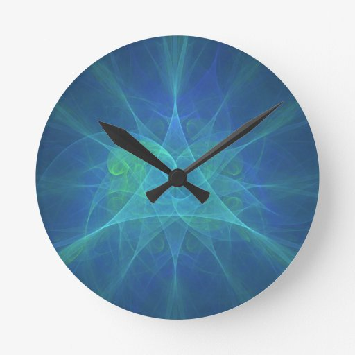 Blue And Green Fractal Pattern Clock