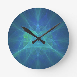 Blue And Green Fractal Round Clock