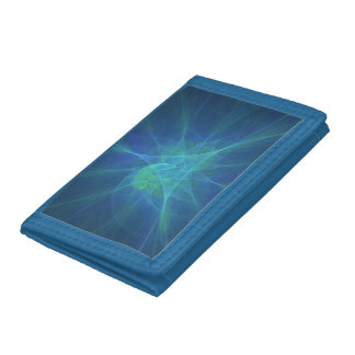 Blue And Green Fractal Tri-fold Wallet