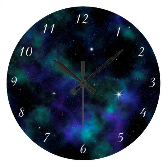Blue and Green Galaxy Design Wall Clock