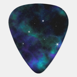 Blue and Green Galaxy Guitar Pick