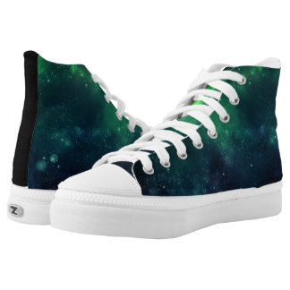 Blue and Green Galaxy high top tennis shoes