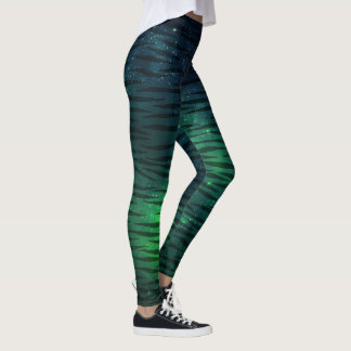 Blue and Green Galaxy Tiger pattern leggings
