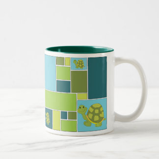 Blue and Green Geometric Pop Turtle Two-Tone Mug