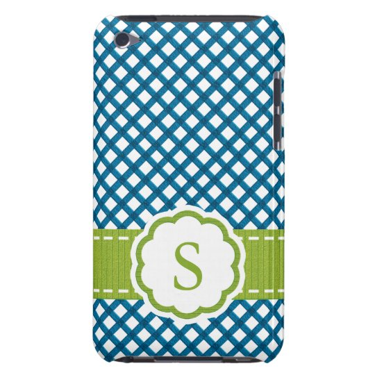 Blue and Green Gingham Monogrammed Barely There iPod Cases