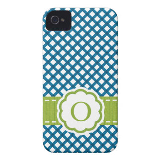 Blue and Green Gingham Monogrammed iPhone 4 Case-Mate Cases