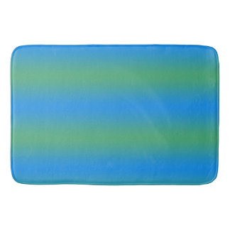 Blue And Green Gradient Stripes Bath Mats