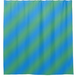 Blue And Green Gradient Stripes Shower Curtain